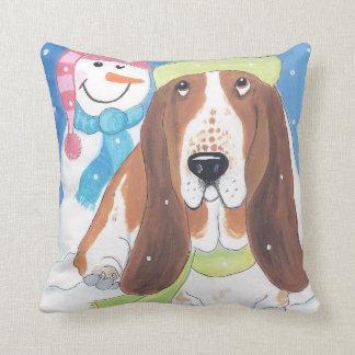 Winter bassets pillow