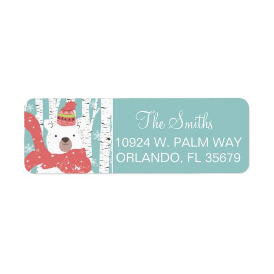 Winter Bear Return Address Label