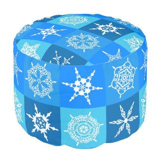 Winter Blue and White Snowflake Pattern Pouf