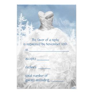 Winter Blue Snowflakes Quinceanera RSVP Custom Announcement