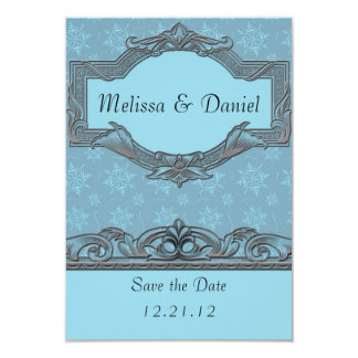 Winter Blue Wedding Save the Date Cards