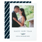 Winter Botanical with Stripes Happy New Year Photo Card