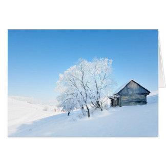 Winter Cabin Landscape Card