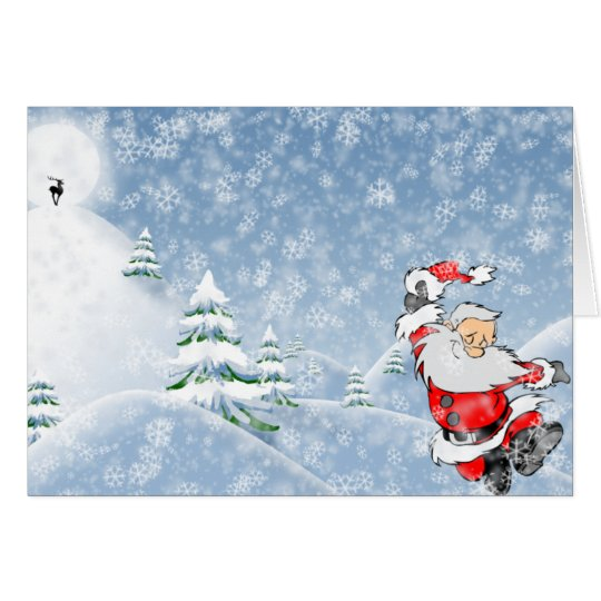 Winter Christmas Scene Xmas Holiday Santa Claus Card