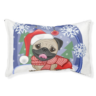 Winter & Christmas Time Pug Pet Bed