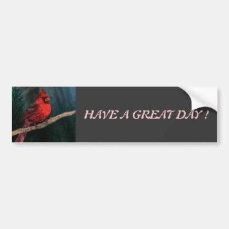 Winter Evergreen Primitive Christmas Red Cardinal Bumper Sticker