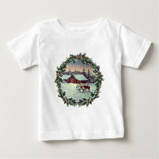 WINTER FARM & WREATH by SHARON SHARPE Baby T-Shirt
