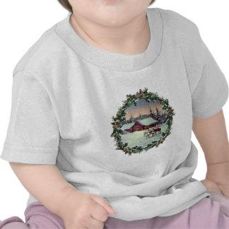 WINTER FARM & WREATH by SHARON SHARPE Tee Shirts