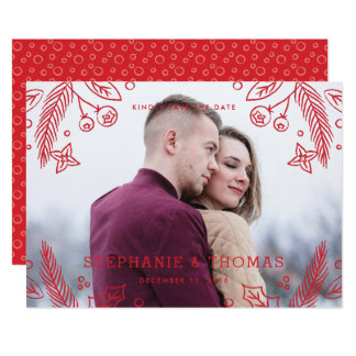 Winter Flourish Save the Date Card - Berry