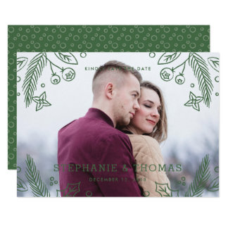 Winter Flourish Save the Date Card - Evergreen