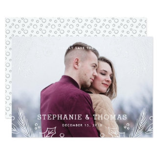 Winter Flourish Save the Date Card - Frost