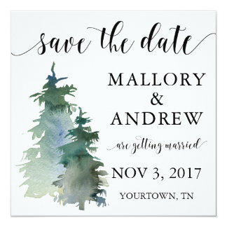 Winter Forest Pine Tree Save the Date Card