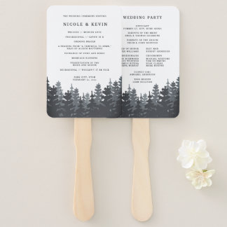 Winter Forest Wedding Program Hand Fan