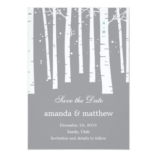 Winter Forest Wedding Save The Date Cards