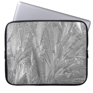 """Winter Frost in Black and White 15"""" Laptop Sleeve"""