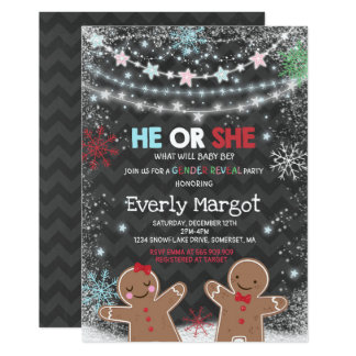 Winter Gender Reveal Party Holiday Gender Reveal Card