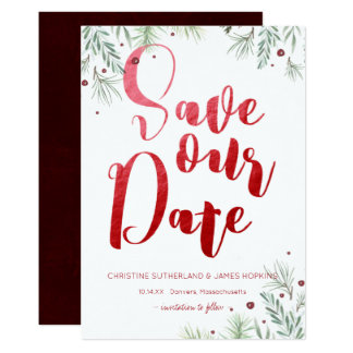 Winter Greenery Wedding Save the Date Card