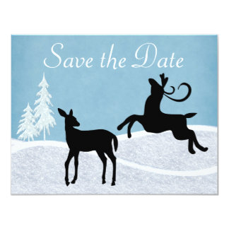 Winter Holiday Deer Save the Date Announcement