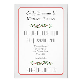Winter Holiday Red Berry Casual Wedding Invitation