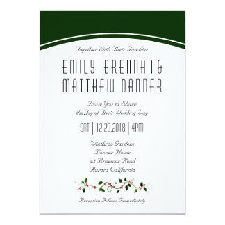 Winter Holiday Wedding Holly Casual Invitation