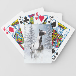 Winter horse bicycle playing cards