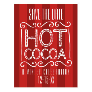 Winter Hot Cocoa Party Save the Date Red Postcard