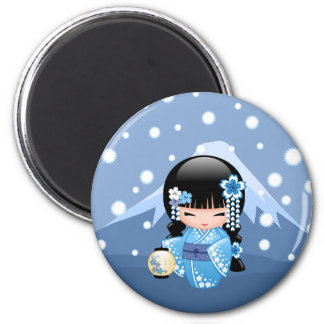 Winter Kokeshi Doll - Blue Mountain Geisha Girl Magnet