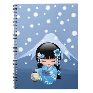 Winter Kokeshi Doll - Blue Mountain Geisha Girl Notebook