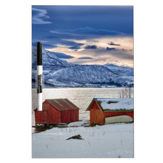 winter landscape with red house at snowy coast dry erase board
