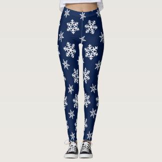 Winter Leggings, White Snowflakes on Midnight Blue Leggings