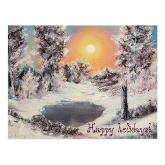 """Winter morning"", Happy Holidays Postcard"
