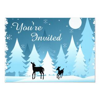 Winter Night Woodland Deer Baby Shower Invitation