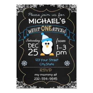 Winter Onederland birthday invitation boy 1st