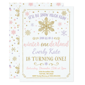 Winter ONEderland Birthday Invitation Lilac Gold