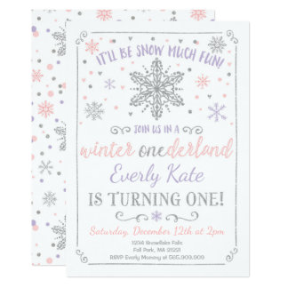 Winter ONEderland Birthday Invitation Lilac Silver