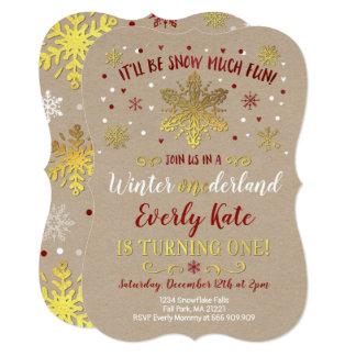 Winter ONEderland Birthday Invitation Red & Gold