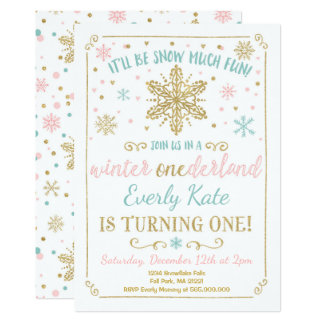 Winter ONEderland Birthday Invitation Teal Gold
