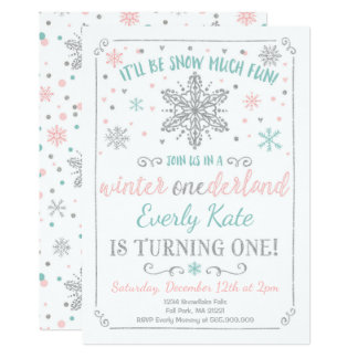 Winter ONEderland Birthday Invitation Teal Silver