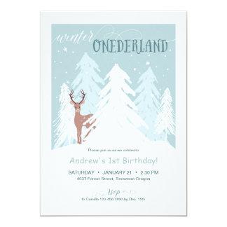 Winter Onederland First Birthday Party Invite Blue