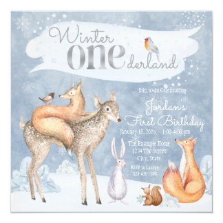 Winter Onederland Woodland First Birthday Party 13 Cm X 13 Cm Square Invitation Card
