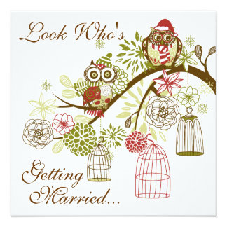 Winter Owls Save the Date Wedding Announcement