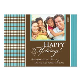 Winter Plaid Family Holiday Card (aqua)