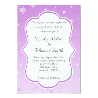 Winter Purple Snowflakes Wedding Invitation