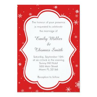 Winter Red Snowflakes Wedding Invitation