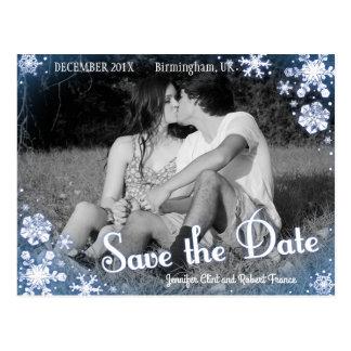 Winter Save the Date Postcard Snowflake Custom