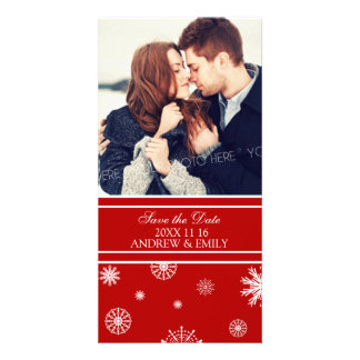 Winter Save the Date Wedding Photo Cards Red