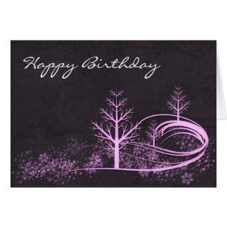 Winter Scene Happy Birthday Greeting Card