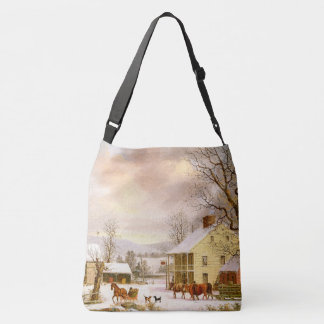 Winter Snow Horses Sleigh Ride Store Tote Bag