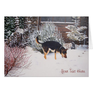 Winter snow scene with cute black and tan dog cards
