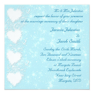 Winter Snowflakes and hearts wedding invitations